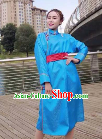Chinese Mongol Minority Ethnic Costume Traditional Light Blue Brocade Mongolian Robe for Women