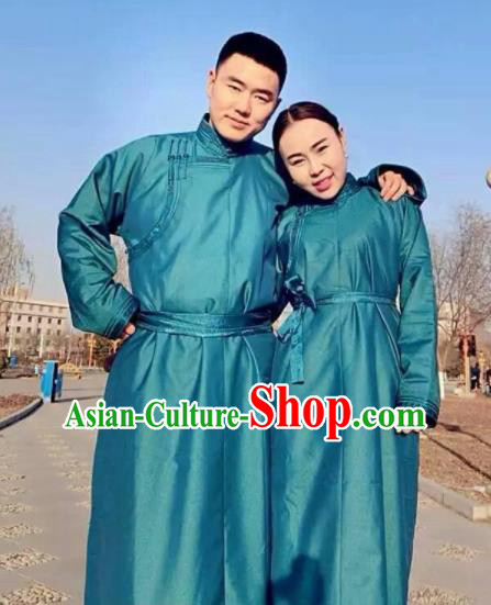 Chinese Mongol Minority Ethnic Costume Traditional Blue Brocade Mongolian Robe for Women for Men