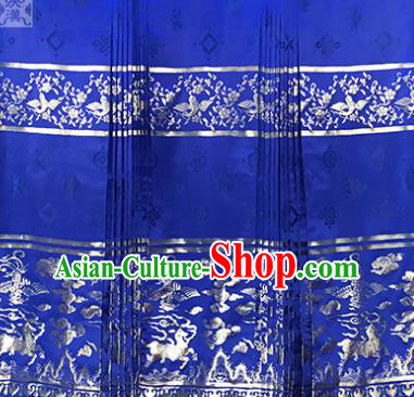 Asian Chinese Traditional Palace Pattern Design Royalblue Brocade Fabric Silk Fabric Chinese Fabric Material