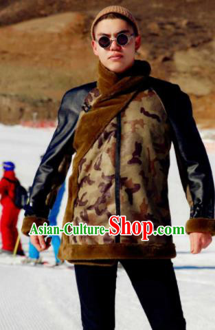 Chinese Traditional Mongol Ethnic Costume Mongolian Minority Nationality Camouflage Coat for Men