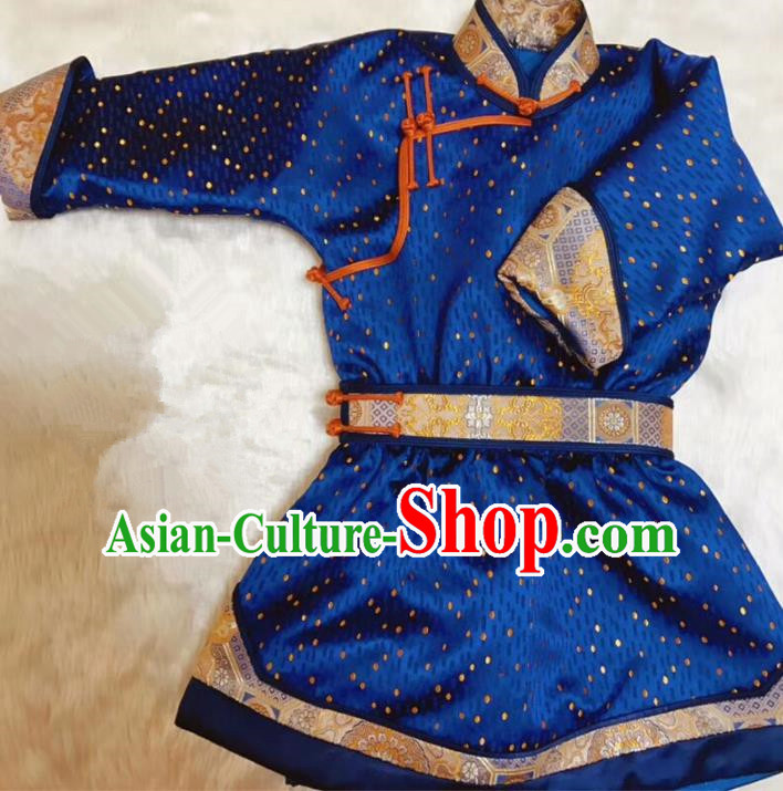 Chinese Traditional Mongol Ethnic Costume Mongolian Minority Nationality Blue Robe for Kids