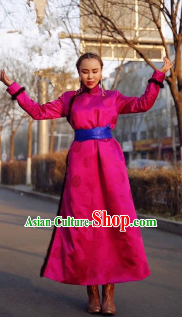 Chinese Traditional Mongol Ethnic Female Costume Mongolian Minority Nationality Rosy Robe for Women