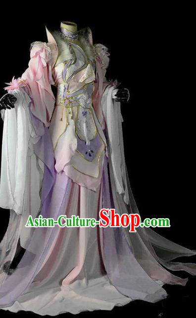 Traditional Chinese Cosplay Peri Costumes Ancient Princess Embroidered Pink Hanfu Dress for Women