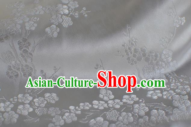 Asian Chinese Traditional Plum Blossom Pattern Design White Brocade Fabric Chinese Costume Silk Fabric Material