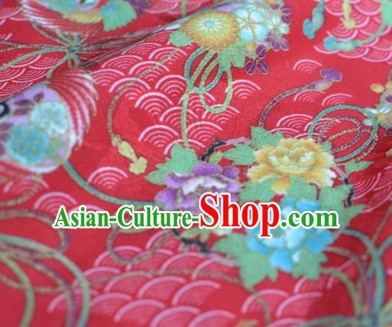 Asian Chinese Traditional Fabric Peony Pattern Design Red Brocade Fabric Chinese Costume Silk Fabric Material
