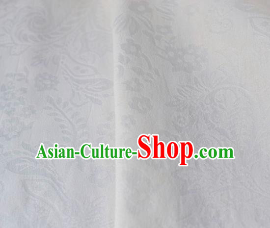 Asian Chinese Fabric Traditional Pattern Design White Brocade Fabric Chinese Costume Silk Fabric Material