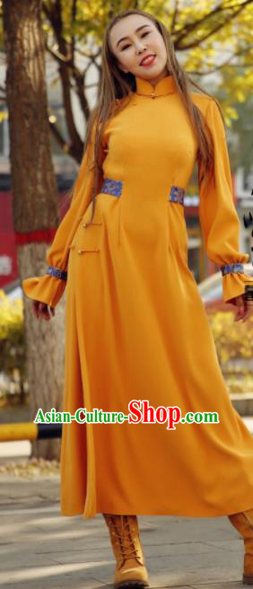 Chinese Traditional Mongol Minority Ethnic Costume Yellow Mongolian Robe for Women