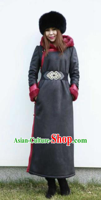 Chinese Traditional Mongol Minority Ethnic Costume Black Suede Fabric Mongolian Dust Coat for Women