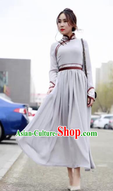 Chinese Mongol Minority Ethnic Costume Traditional Mongolian Grey Dress for Women