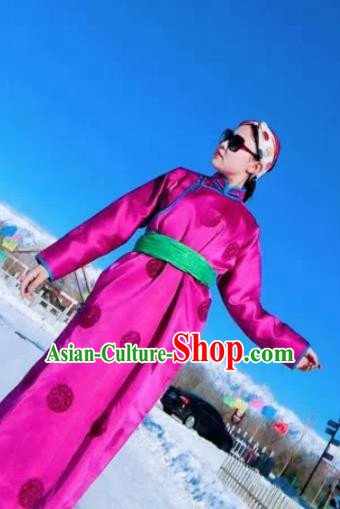 Chinese Mongol Minority Ethnic Costume Traditional Rosy Silk Mongolian Robe for Women