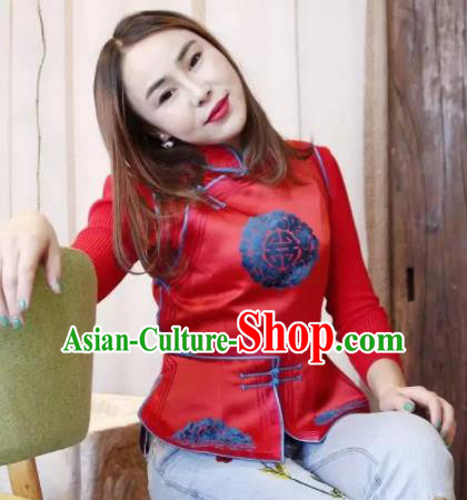 Chinese Mongol Minority Ethnic Costume Traditional Red Brocade Mongolian Vest for Women