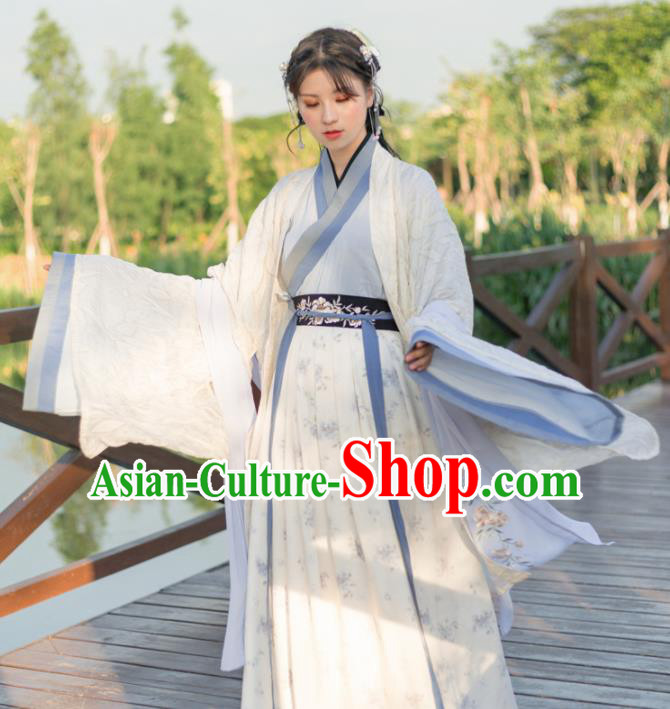 Traditional Chinese Jin Dynasty Princess Costumes Ancient Nobility Lady Embroidered Hanfu Dress for Rich
