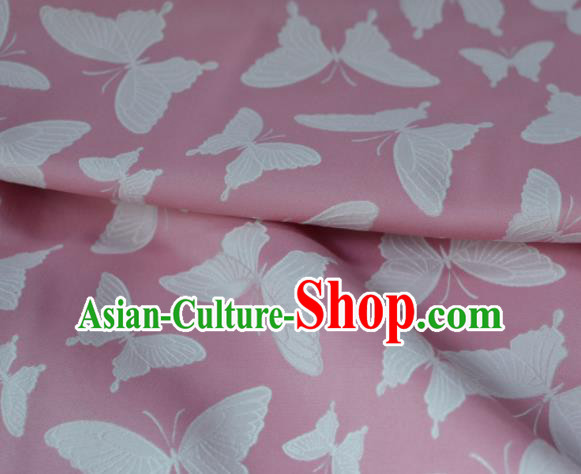 Asian Chinese Fabric Traditional Butterfly Pattern Design Pink Brocade Fabric Chinese Costume Silk Fabric Material