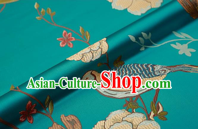 Asian Chinese Green Brocade Fabric Traditional Flowers Birds Pattern Design Satin Cushion Silk Fabric Material