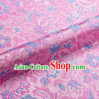 Asian Chinese Pink Brocade Fabric Traditional Flowers Pattern Design Satin Pillow Silk Fabric Material