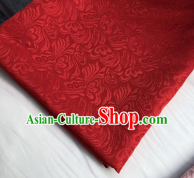Asian Chinese Fabric Traditional Butterfly Pattern Design Red Brocade Fabric Chinese Costume Silk Fabric Material