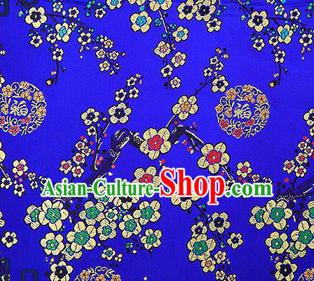 Chinese Traditional Royalblue Brocade Fabric Classical Plum Blossom Pattern Design Satin Tang Suit Silk Fabric Material