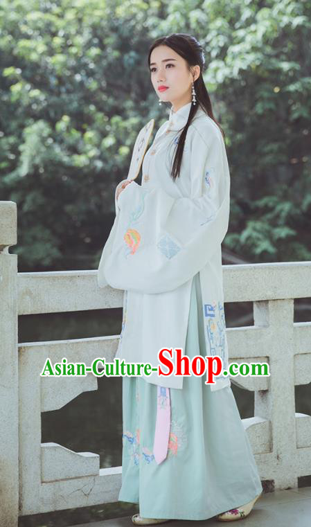 Traditional Chinese Ancient Hanfu Dress Ming Dynasty Princess Embroidered Historical Costumes for Women