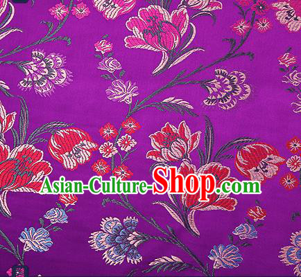 Traditional Chinese Purple Brocade Drapery Classical Tulipa Pattern Design Satin Cheongsam Silk Fabric Material
