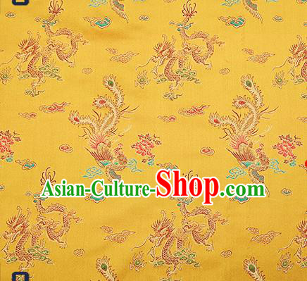 Traditional Chinese Classical Golden Satin Brocade Drapery Dragon Phoenix Pattern Design Qipao Dress Silk Fabric Material
