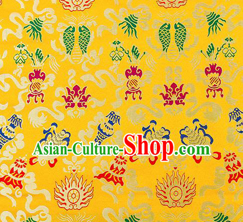 Traditional Chinese Yellow Nanjing Brocade Drapery Classical Fishes Pattern Design Satin Qipao Dress Silk Fabric Material