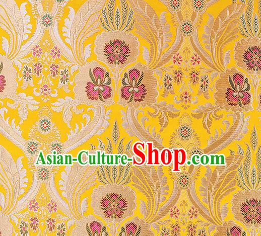Traditional Chinese Tang Suit Yellow Nanjing Brocade Material Silk Fabric Classical Pattern Design Satin Drapery