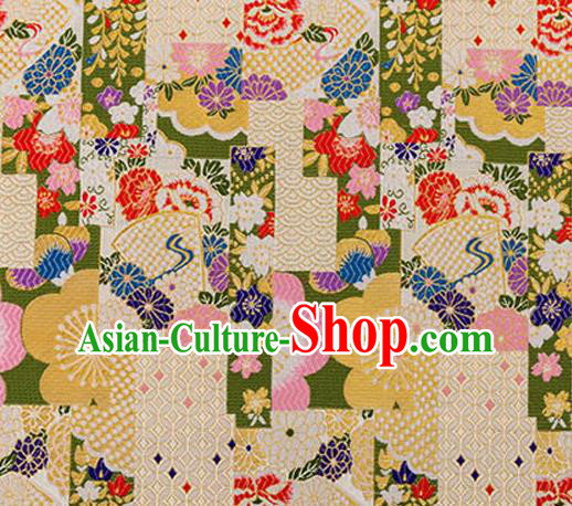 Asian Japanese Traditional Fabric White Brocade Silk Material Classical Pattern Design Satin Drapery