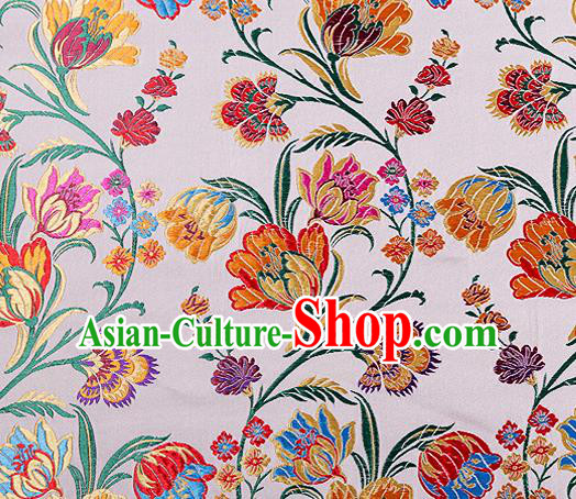 Asian Chinese Traditional Fabric White Brocade Silk Material Classical Tulipa Pattern Design Satin Drapery