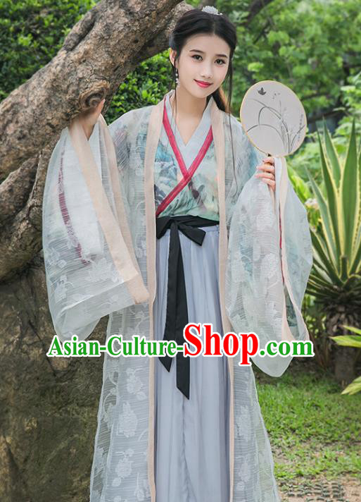 Chinese Ancient Jin Dynasty Princess Embroidered Costumes Palace Lady Hanfu Dress for Rich Women