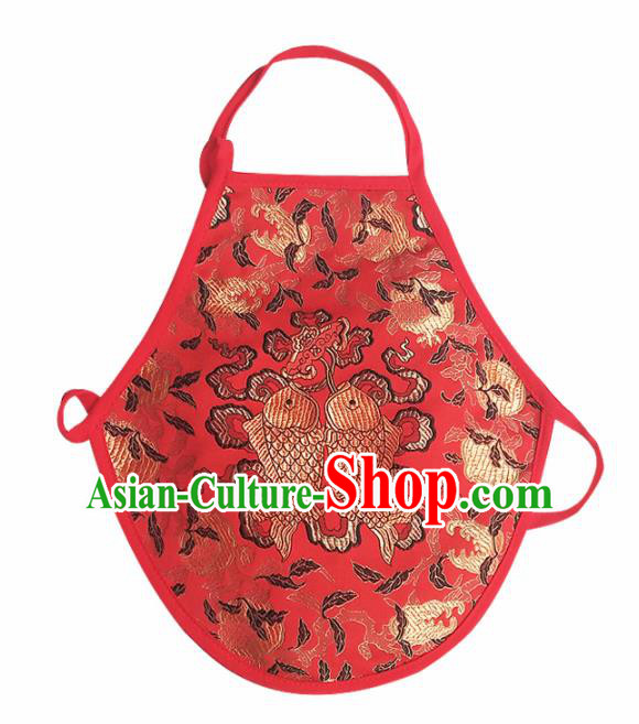 Chinese Classical Embroidered Double Fishes Brocade Bellyband Traditional Baby Red Silk Stomachers for Kids