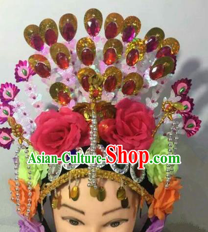 Chinese Traditional Folk Dance Red Peony Hair Accessories Ancient Peking Opera Diva Headwear for Women