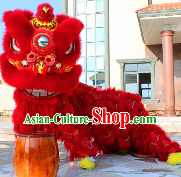 Chinese Traditional Lion Dance Red Fur Costumes Spring Festival Lion Dance Props Lion Head for Adults