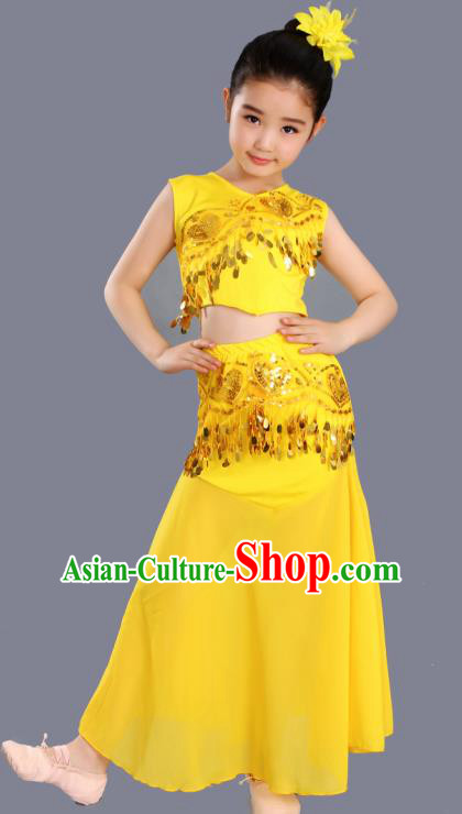 Chinese Traditional Ethnic Costumes Dai Nationality Folk Dance Pavane Yellow Dress for Kids