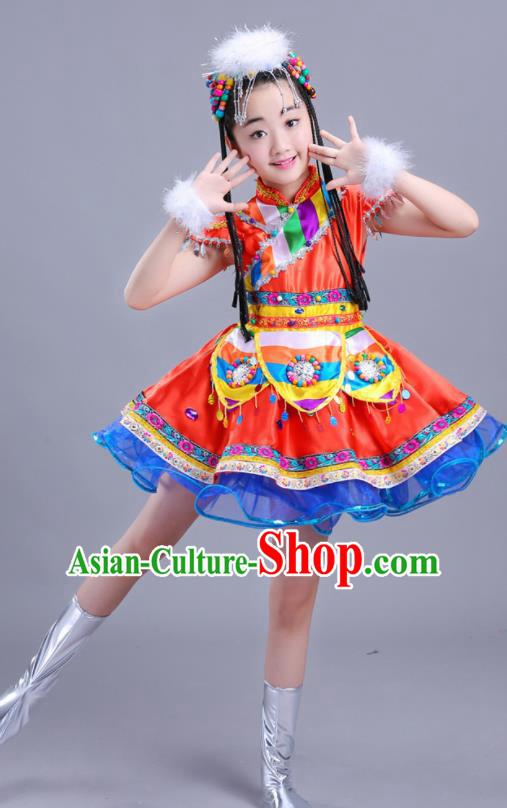 Chinese Traditional Ethnic Costumes Mongolian Nationality Folk Dance Red Dress for Kids