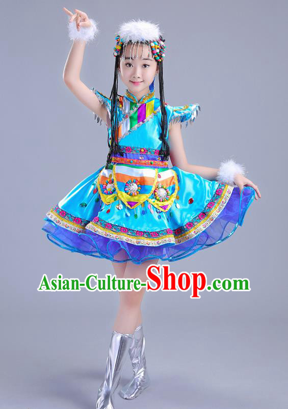 Chinese Traditional Ethnic Costumes Mongolian Nationality Folk Dance Blue Dress for Kids