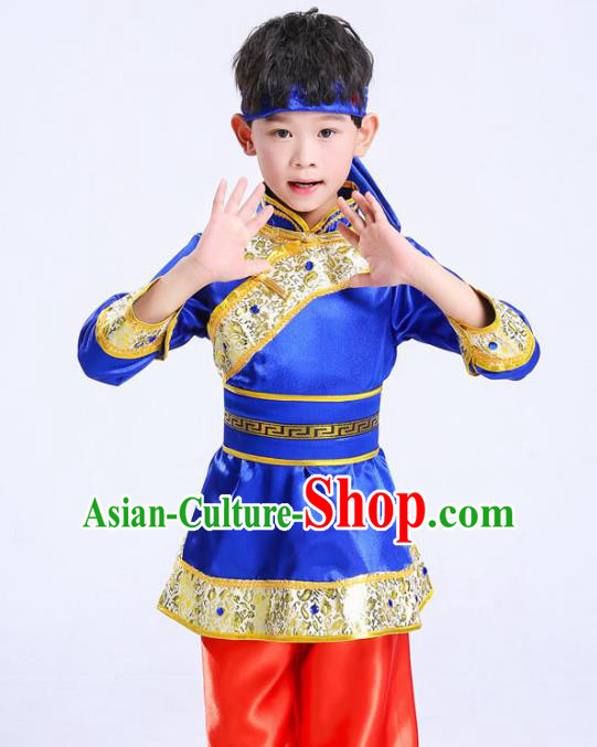 Chinese Traditional Ethnic Costumes Mongolian Nationality Folk Dance Blue Clothing for Kids