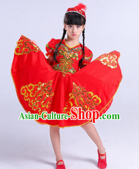 Chinese Traditional Uigurian Ethnic Costumes Uyghur Nationality Folk Dance Red Dress for Kids