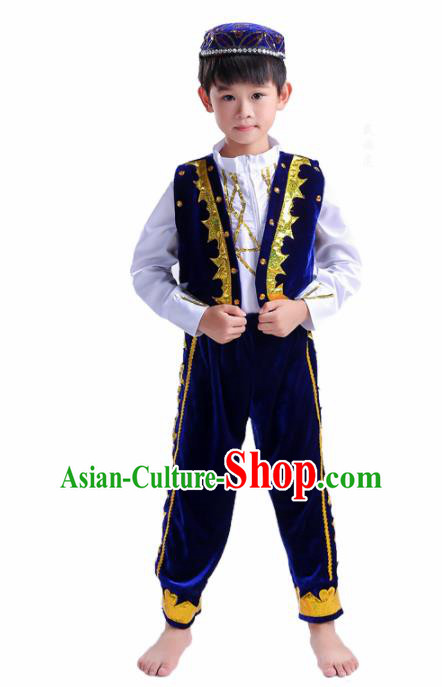 Chinese Traditional Uigurian Ethnic Costumes Uyghur Nationality Boy Folk Dance Royalblue Clothing for Kids