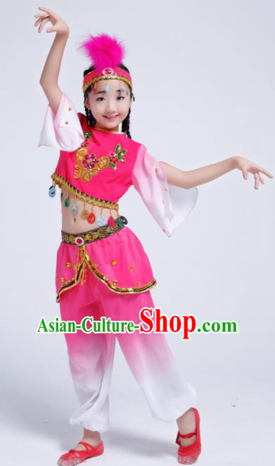 Chinese Traditional Uigurian Ethnic Costumes Uyghur Nationality Girls Folk Dance Clothing for Kids