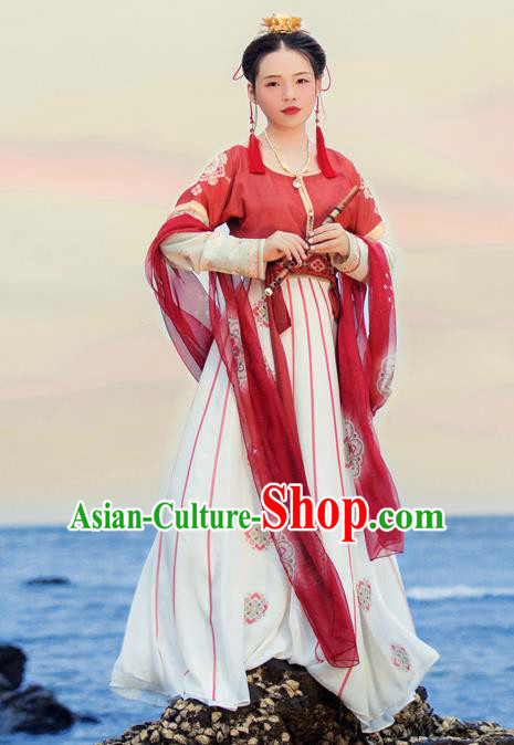 Traditional Chinese Ancient Flying Apsaras Hanfu Dress Tang Dynasty Princess Embroidered Costumes for Women