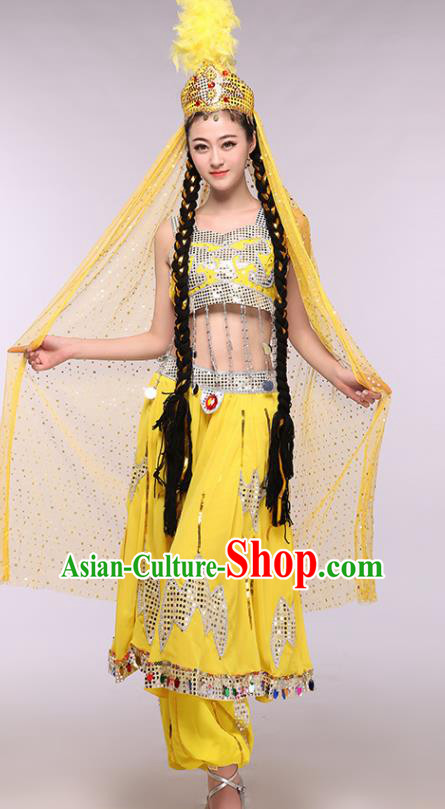 Chinese Traditional Uigurian Ethnic Costumes Uyghur Nationality Folk Dance Yellow Dress for Women
