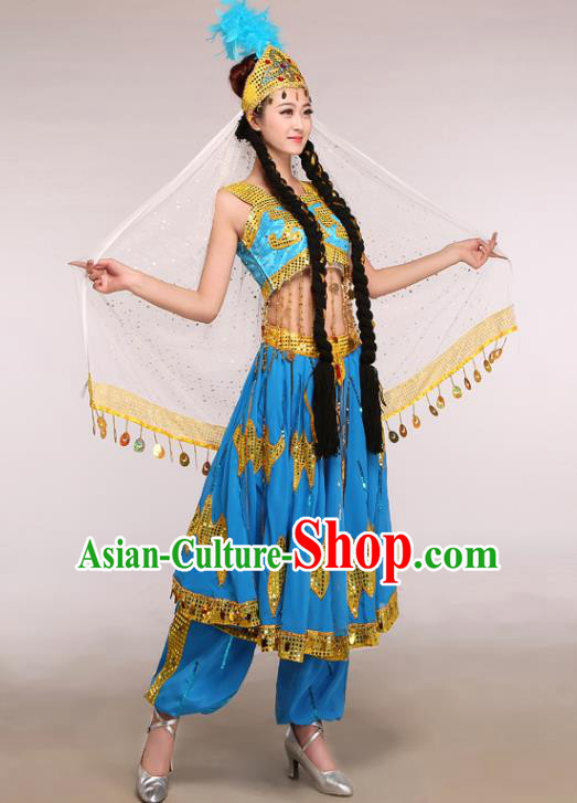 Chinese Traditional Uigurian Ethnic Costumes Uyghur Nationality Folk Dance Blue Dress for Women