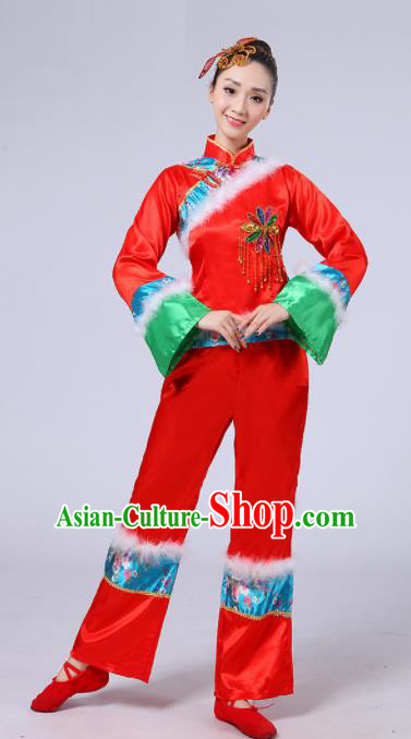 Chinese Traditional Classical Dance Costumes Folk Dance Fan Dance Red Clothing for Women