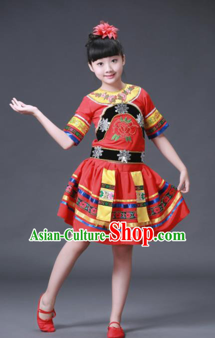 Chinese Hmong Ethnic Costumes Traditional Miao Nationality Folk Dance Red Dress for Kids