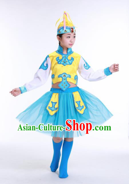 Chinese Ethnic Costumes Traditional Mongolian Nationality Folk Dance Blue Dress for Kids
