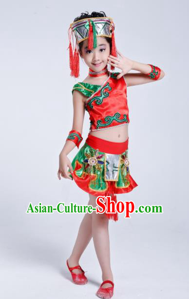 Chinese Ethnic Costumes Traditional Miao Minority Nationality Folk Dance Clothing for Kids