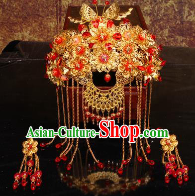 Chinese Traditional Handmade Phoenix Coronet Wedding Hair Accessories Ancient Bride Hairpins Complete Set for Women