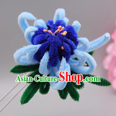 Chinese Traditional Handmade Hair Accessories Ancient Qing Dynasty Queen Blue Velvet Flower Hairpins for Women