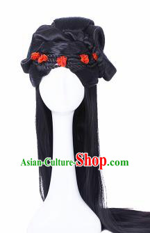 Traditional Chinese Tang Dynasty Princess Wigs Sheath Hair Accessories Ancient Handmade Peri Chignon for Women