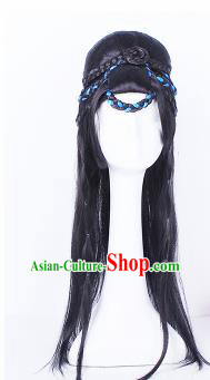 Traditional Chinese Drama Swordswoman Wigs Sheath Ancient Handmade Peri Chignon Hair Accessories for Women